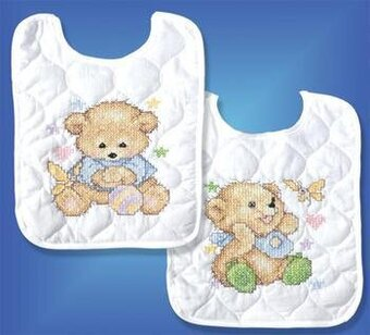 Baby Bears Bib Pair - Stamped Cross Stitch Kit