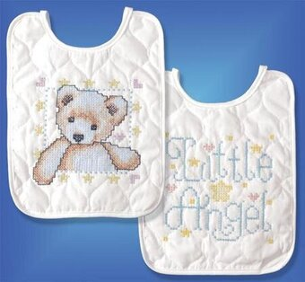 Angel Bib Pair - Stamped Cross Stitch Kit