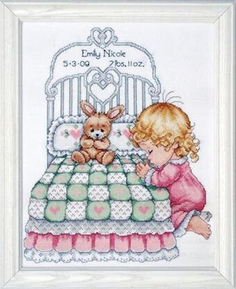 Bedtime Prayer Girl Birth Record - Counted Cross Stitch Kit