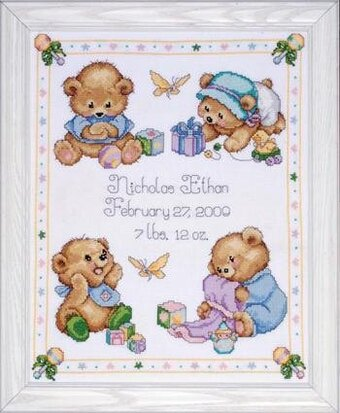 Design Works Baby Bears Birth Record Counted Cross