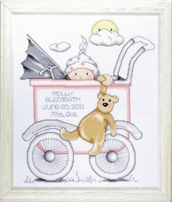 Baby Buggy Girl Birth Record - Cross Stitch Kit