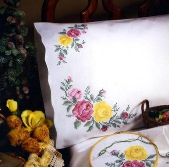 Rose Classic Pillowcase Pair - Stamped Embroidery Kit