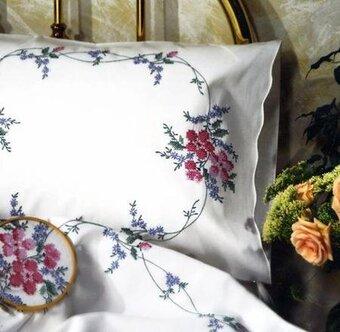 Tobin Wild Rose Pillowcase Pair Stamped Embroidery Kit 123stitch