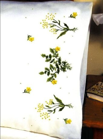 Buttercups Pillowcase Pair - Stamped Embroidery Kit