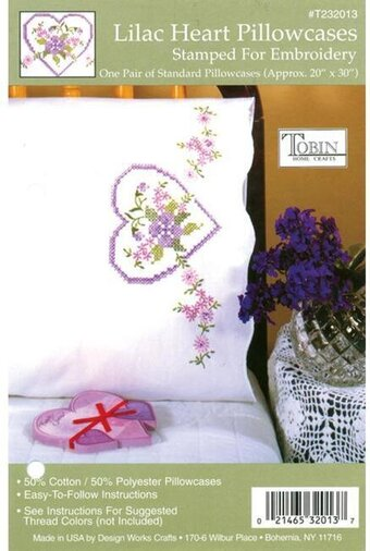 Lilac Heart Pillowcase Pair - Stamped Embroidery Kit