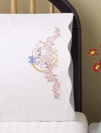 Kitten Basket Pillowcase Pair - Stamped Embroidery Kit