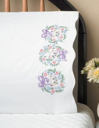 Floral Cats Pillowcase Pair - Stamped Embroidery Kit