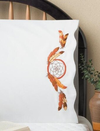 Dreamcatcher Pillowcase Pair - Stamped Embroidery Kit