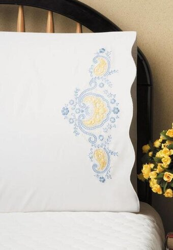 Elegant Blue Pillowcase Pair - Stamped Embroidery Kit