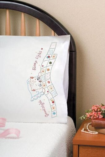 Good Night Pillowcase Pair - Stamped Embroidery Kit