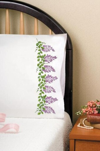 Wisteria Pillowcase Pair - Stamped Embroidery Kit