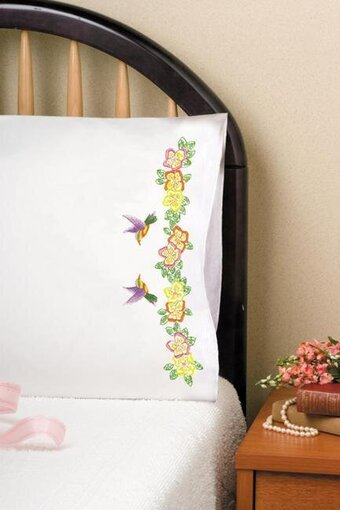 Hummingbird Pillowcase Pair - Stamped Embroidery Kit