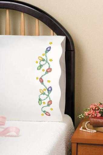 Christmas Lights Pillowcase Pair - Stamped Embroidery Kit