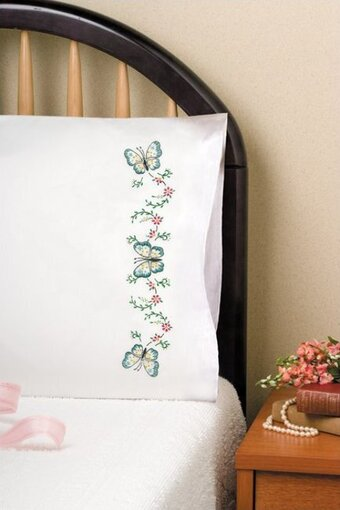 Aqua Butterfly Pillowcase Pair - Stamped Embroidery Kit