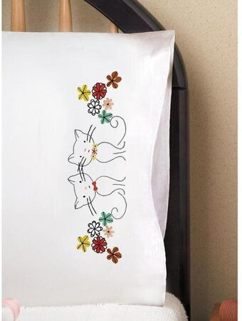 Retro Cats Pillowcase Pair - Stamped Embroidery Kit