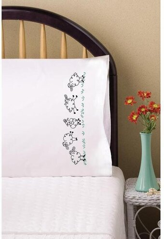 Running Sheep Pillowcase Pair - Stamped Embroidery Kit