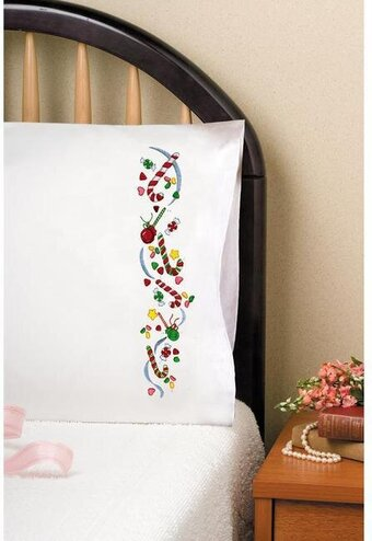 Christmas Candy Pillowcase Pair - Stamped Embroidery Kit