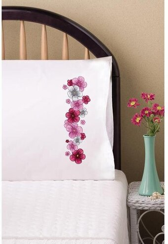 Pink Passion Pillowcase Pair Stamped Embroidery Kit