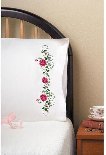 Rose Vines Pillowcase Pair Stamped Embroidery Kit