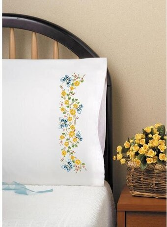 Butterfly Branch Pillowcase Pair - Stamped Embroidery Kit