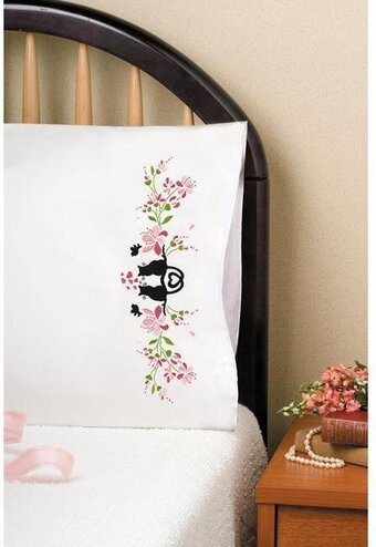 Cat Silhouette Pillowcase Pair - Stamped Embroidery Kit