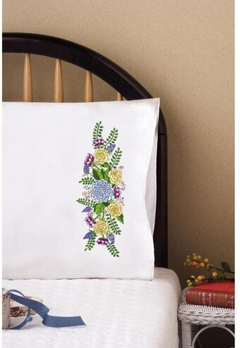 Floral Fantasy Pillowcase Pair - Stamped Embroidery Kit