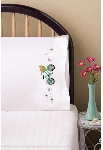 Bicycle Pillowcase Pair - Stamped Embroidery Kit
