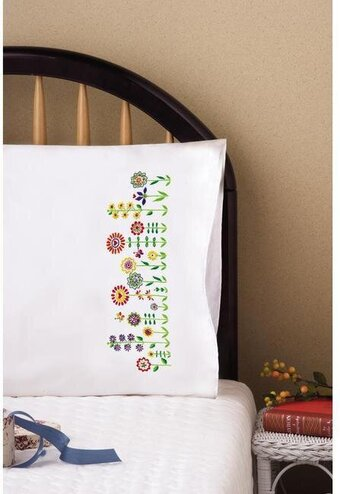 Whimsy Floral Pillowcase Pair - Stamped Embroidery Kit