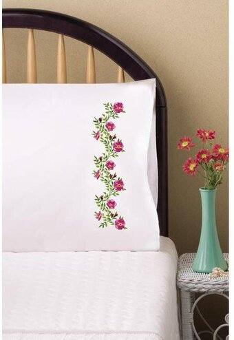 Verbena Pillowcase Pair - Stamped Embroidery Kit