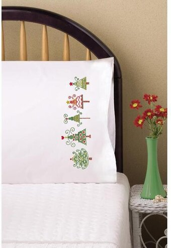 Christmas Trees Pillowcase Pair - Stamped Embroidery Kit