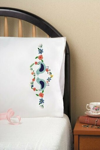 Love Birds Pillowcase Pair - Stamped Embroidery Kit