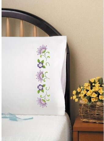 Jacobean Pillowcase Pair - Stamped Embroidery Kit