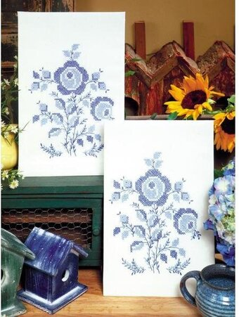 Blue Rose Kitchen Towels - Stamped Embroidery Kit