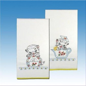 Tobin Kitchen Cats Kitchen Towels Stamped Embroidery Kit