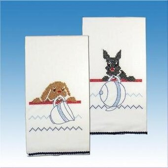 Kitchen Dogs Kitchen Towels - Stamped Embroidery Kit