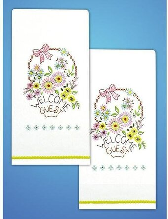 Welcome Guest Kitchen Towels - Stamped Embroidery Kit