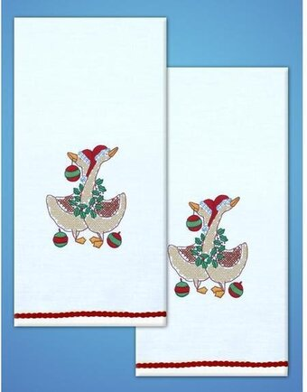 Christmas Geese Kitchen Towels - Stamped Embroidery Kit