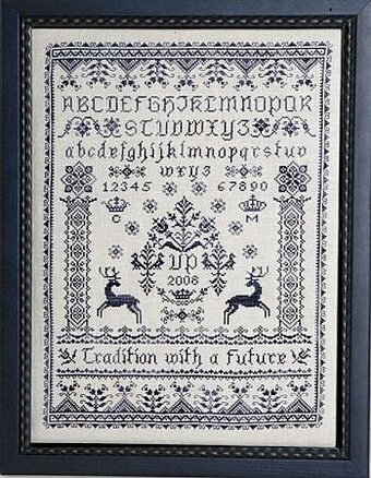 Blue Deer Sampler - Cross Stitch Pattern