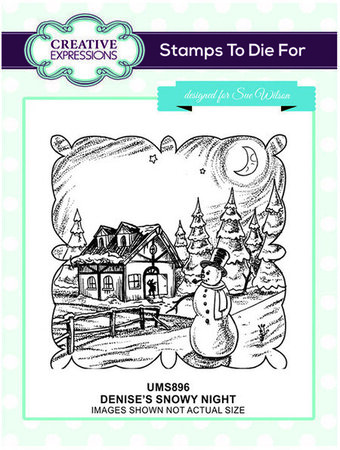 Denise's Snowy Night - Christmas Precut Rubber Stamp