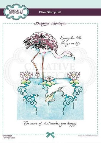 Flamingo Oasis - Designer Boutique - A6 Clear Stamp