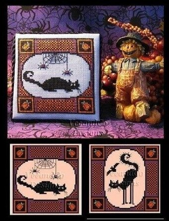 Black Cats for Halloween - Cross Stitch Pattern