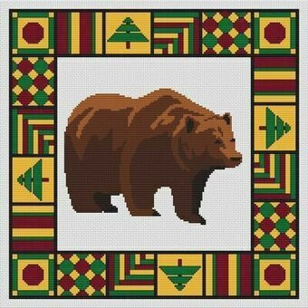 Country Quilt - Bear - Cross Stitch Pattern
