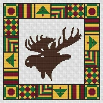 Country Quilt - Moose - Cross Stitch Pattern