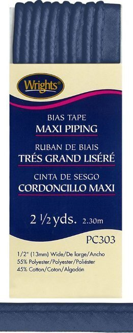 "Bias Tape Corded Maxi Piping 1/2"" - #584 Stone Blue"