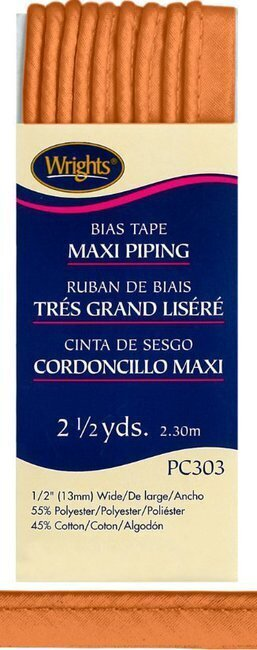 "Bias Tape Corded Maxi Piping 1/2"" - #1241 Carrot"