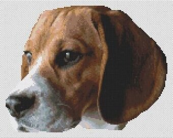 Beagle Head Study - Cross Stitch Pattern