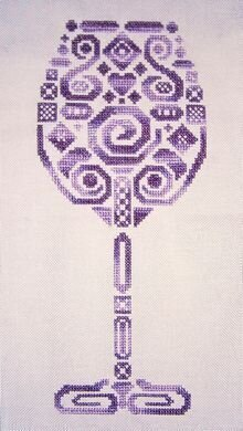 Tribal Wine Glass - Cross Stitch Pattern