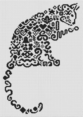 Tribal Cat II - Cross Stitch Pattern