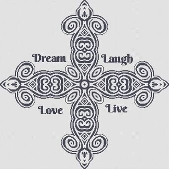 Dream, Laugh, Love, Live - Cross Stitch Pattern