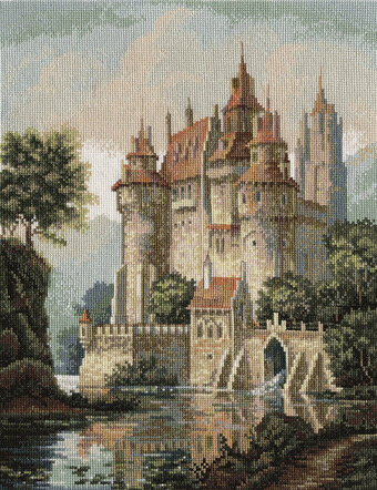 Castle in the Mountains - Golden Series Cross Stitch Kit